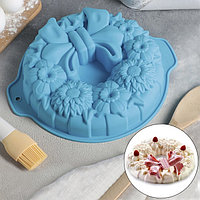 Форма для выпечки Доляна 'Немецкий кекс. Праздничный венок', 26x30 см, с ручками, цвет МИКС