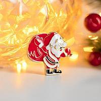Брошь новогодняя 'Дед Мороз' с мешком, цвет красно-белый в золоте