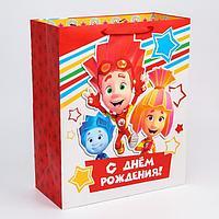 Пакет ламинат вертикальный 'С Днем рождения', Фиксики, 40х49х19 см