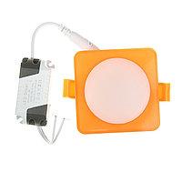 Светильник точечный светодиодный Luazon S-07 квадр., 7 Вт, 4000К, 220В, 80х80 мм, оранжевый