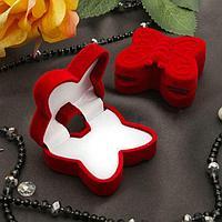 Футляр под серьги/кольцо 'Бабочка', 5*5,5*2,5, цвет красный, вставка белая