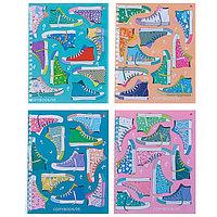 Тетрадь 96 листов в клетку на гребне 'Кеды', обложка мелованный картон, глянцевая ламинация, МИКС