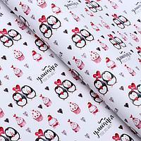 Набор бумаги упаковочной глянцевой 'Пингвины', 50 x 70 см, 2 листа