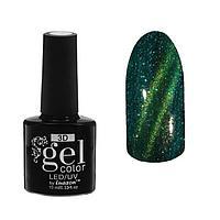 Гель-лак для ногтей 3D, с блёстками, трёхфазный LED/UV, под магнит, 10мл, цвет 33-075 зелёно-золотой