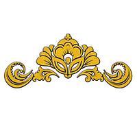Термонаклейка Хохлома вензель золотой, набор 10 штук