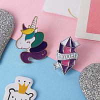 Набор значков 'Мультики' единорог и кристалл, цветные