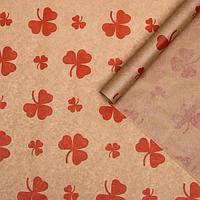 Бумага упаковочная крафт 'Цветок красный', 0,72 х 10 м, 40 г