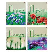 Тетрадь А5+, 80 листов в клетку на гребне 'Цветы', обложка мелованный картон, глянцевая ламинация, МИКС