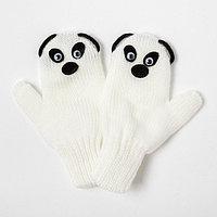 Варежки для девочки двойные 'Панда', белый, размер 12