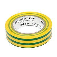 Изолента 3М Temflex 1300, ПВХ, 15 мм x 10 м, 130 мкм, желтая/зеленая
