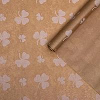 Бумага упаковочная крафт 'Цветок белый', 0,72 х 10 м, 50 г