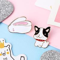Набор значков 'Мультики' кролик и собачка, цветные в золоте