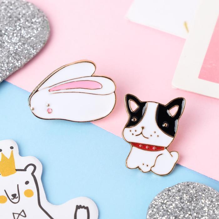 Набор значков 'Мультики' кролик и собачка, цветные в золоте - фото 1
