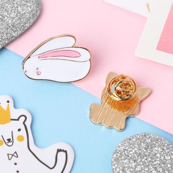 Набор значков 'Мультики' кролик и собачка, цветные в золоте - фото 2