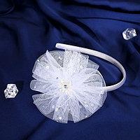 Ободок для волос 'Выпускница' 0,5 см, цветок, блеск, белый (комплект из 6 шт.)