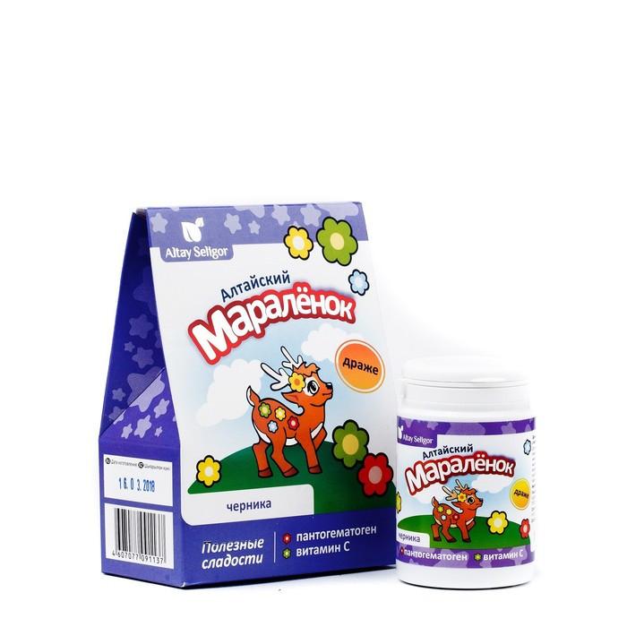 Драже для детей Altay Seligor 'Алтайский маралёнок' с пантогематогеном, витамином С и черникой, 70 г - фото 1