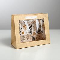 Пакет крафтовый с пластиковым окном Man, 24 х 20 х 11см (комплект из 6 шт.)