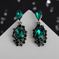 Серьги со стразами 'Карнавал' шик, цвет зеленый в чернёном серебре