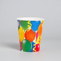 Бумажные стаканы 'Праздник', воздушные шары и серпантин, 250 мл, набор 6 шт.