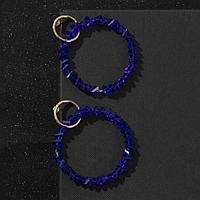 Серьги со стразами 'Бриз' два кольца, цвет синий в золоте