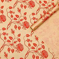 Бумага упаковочная крафт 'Вьющиеся розы красные', 0,7 х 10 м, 40 г/м