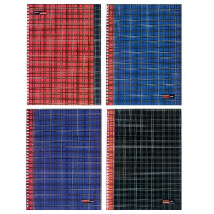 Тетрадь А4, 96 листов в клетку на гребне 'Шотландка', обложка мелованный картон, глянцевая ламинация, МИКС - фото 1