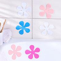Набор мини-ковриков для ванны Доляна 'Цветочек', 10,5x10,5 см, 6 шт, цвет МИКС
