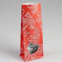 Пакет бумажный фасовочный 'Сердца', матовый, красный, 10 х 6 х 26 см (комплект из 10 шт.)