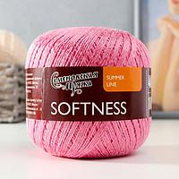 Пряжа Softness (Нежность) 47 хлопок, 53 вискоза 400м/100гр яр.розовыйх1 (30079) (комплект из 2 шт.)