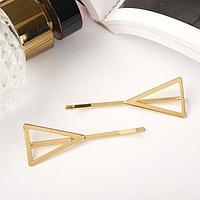 Невидимка для волос 'Либерти' (набор 2 шт) 5 см, пустые треугольники, золото