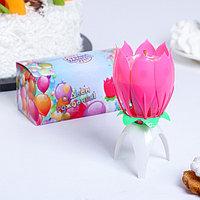 Свеча для торта музыкальная 'Тюльпан', розовая, 12x5 см