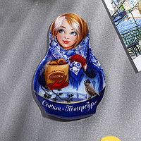 Магнит в форме матрёшки 'Санкт-Петербург'