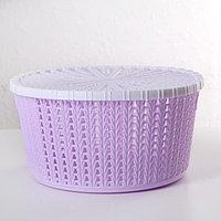Корзина для хранения с крышкой 'Плетение', 25x12,5 см, цвет МИКС
