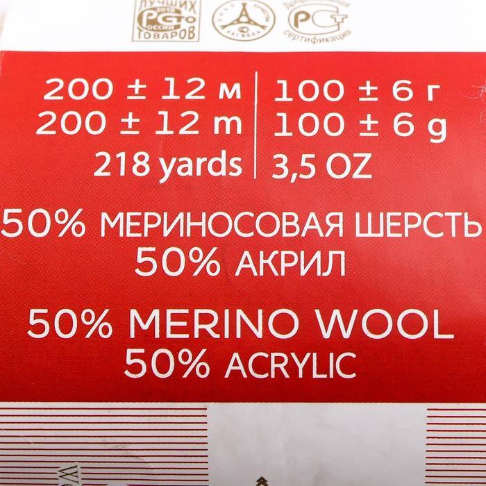 Пряжа 'Мериносовая' 50меринос.шерсть, 50 акрил 200м/100гр(01-Белый) - фото 4