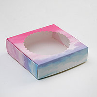 Подарочная коробка сборная с окном, небесный, 11,5 х 11,5 х 3 см (комплект из 10 шт.)