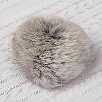 Помпон из натурального меха зайца, размер 1 шт 8 см, цвет серый