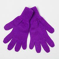 Перчатки для девочки, цвет фиолетовый, размер 14