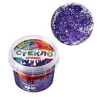 Слайм 'Стекло' с фиолетовыми крупными блёстками