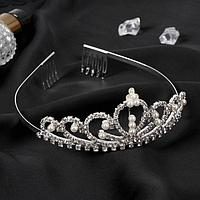 Диадема для волос 'Аделина' корона жемчуг, 5 см, серебро