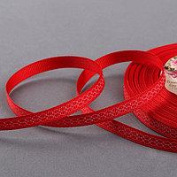 Лента репсовая 'Двойные ромбы', 6 мм, 22 ± 1 м, цвет красный/белый 26