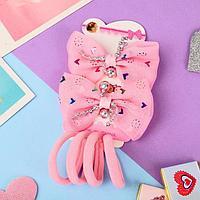Набор для волос 'Карапунька' (2 зажима, 4 резинки) бантики с шариками розовый (комплект из 6 шт.)