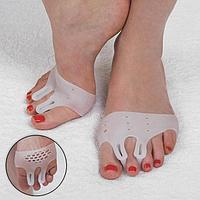 Корректоры для пальцев ног, силиконовые, дышащие, с двумя разделителями, пара, цвет белый