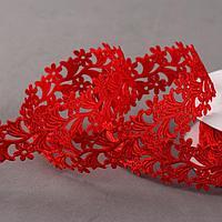 Лента фигурная 'Ромашки', 25 мм, 9 ± 0,5 м, цвет красный