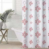 Штора для ванной комнаты Доляна 'Василёк', 180x180 см, EVA, цвет бордо