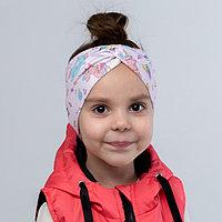 Повязка на голову, цвет розовый/единороги, размер 54-58