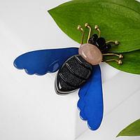 Брошь пластик 'Муха', цвет сине-чёрный в золоте
