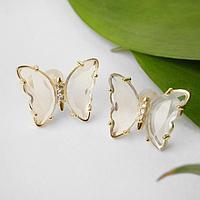 Серьги со стразами 'Бабочки мини' прозрачные, цвет белый в золоте