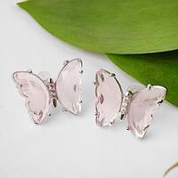 Серьги со стразами 'Бабочки мини' прозрачные, цвет розовый в серебре