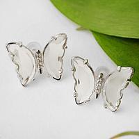 Серьги со стразами 'Бабочки мини' прозрачные, цвет белый в серебре