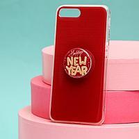Чехол с попсокетом для iPhone 7, 8 plus 'С Новым Годом', 7,7 x 15,8 см